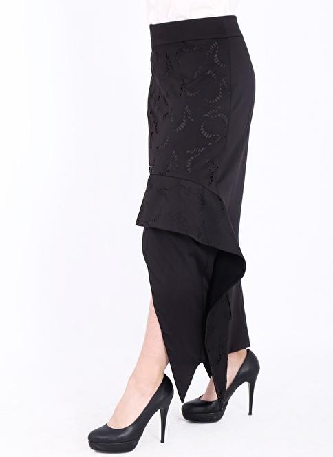 Soie Design Asimetrik Kesimli Uzun Etek Siyah